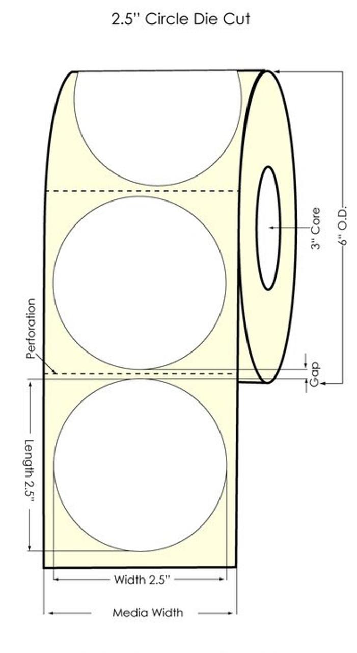 "Primera LX900 2.5"" Circle White Polyester Labels"