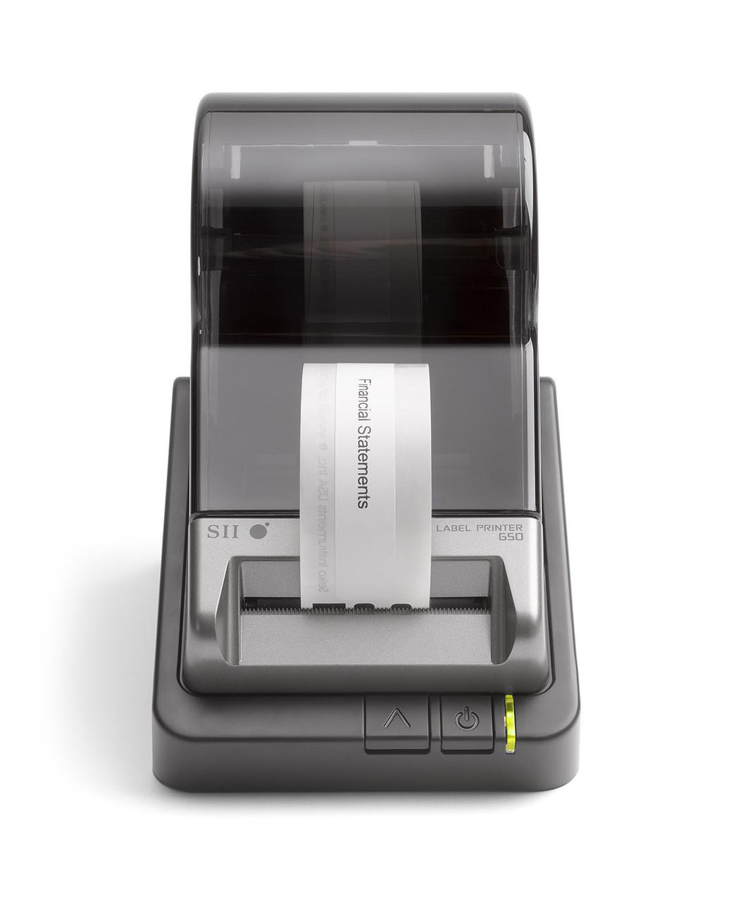 Seiko SLP 650 label printer printing an address label