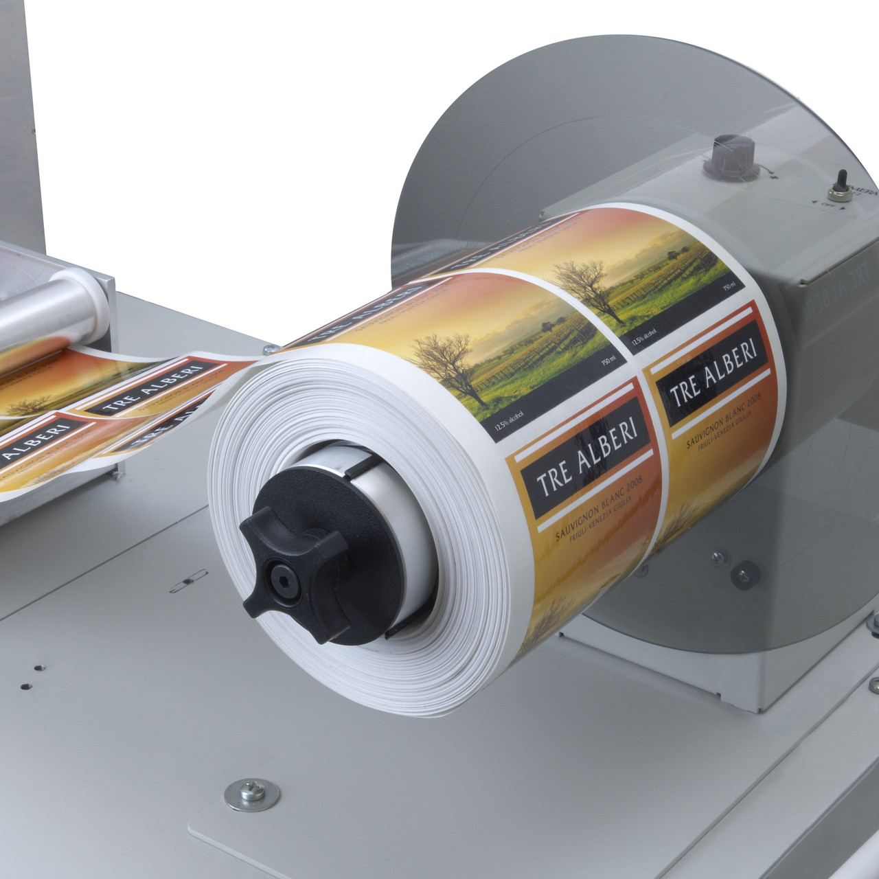 Label rewinder is also integrated with the Primera FX1200 label finishing system