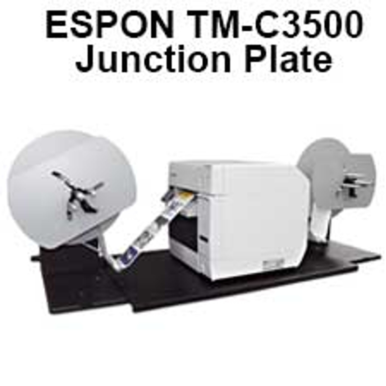 Epson TM-C3500 shown sitting on the junction plate with the label unwinder and rewinder attached.