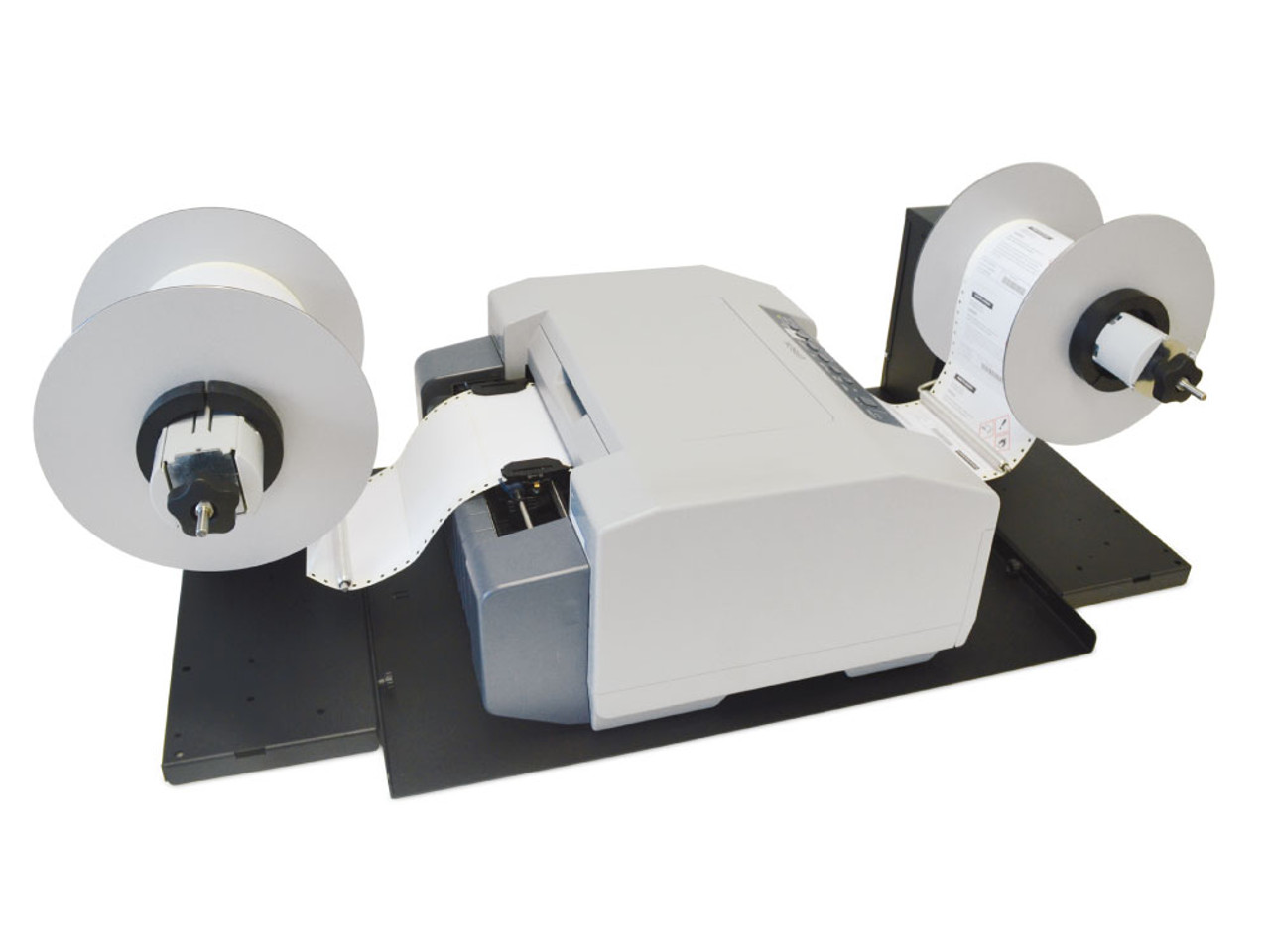 Label Unwinder and Rewinder shown with the Epson GP-C831 label printer. Printing roll to roll
