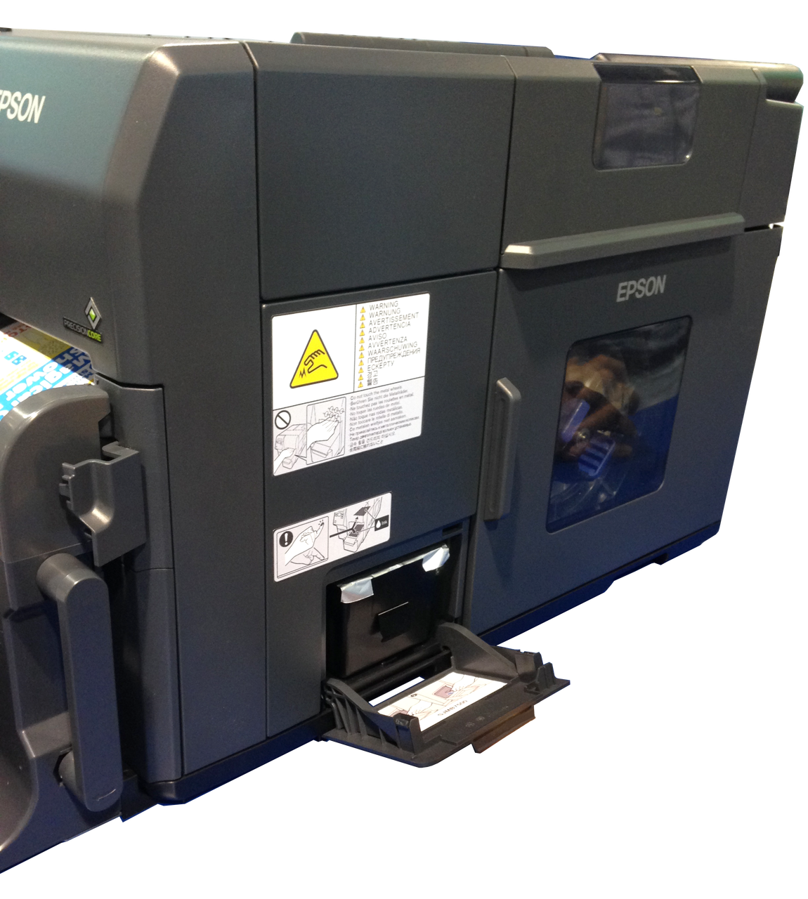 """Epson TM-C7500 has an built in cutter with print resolution at 1200 dpi at speeds up to 12"""" per second."""
