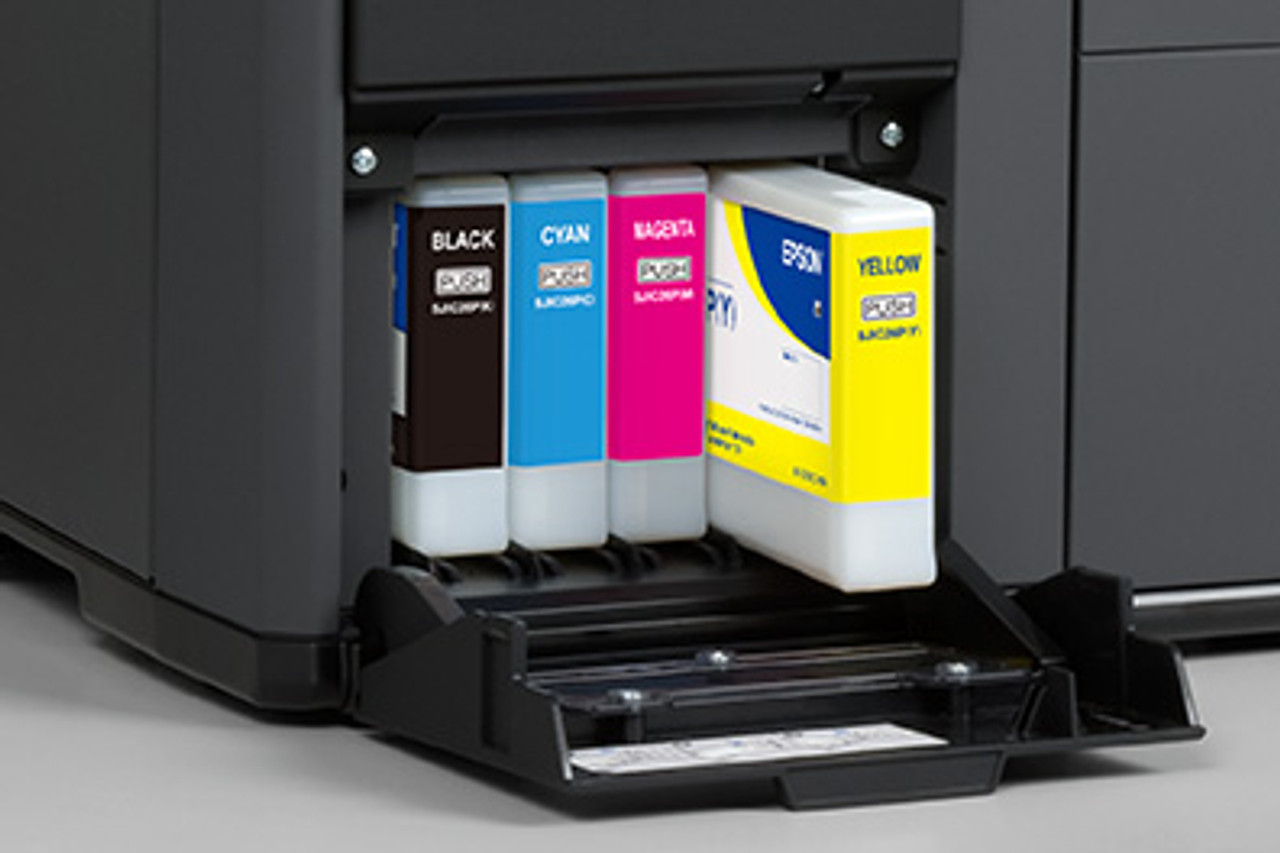 Epson TM-C7500 color label printer uses individual ink cartridges (CMYK) to give you the lowest cost per label.