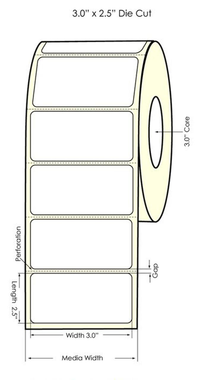 "Primera LX900 3"" x 2.5"" High Gloss Paper Labels 950/Roll (74804)"