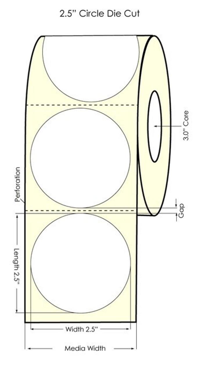 "Primera LX900 2.5"" Circle High Gloss Paper Labels 1100/Roll"
