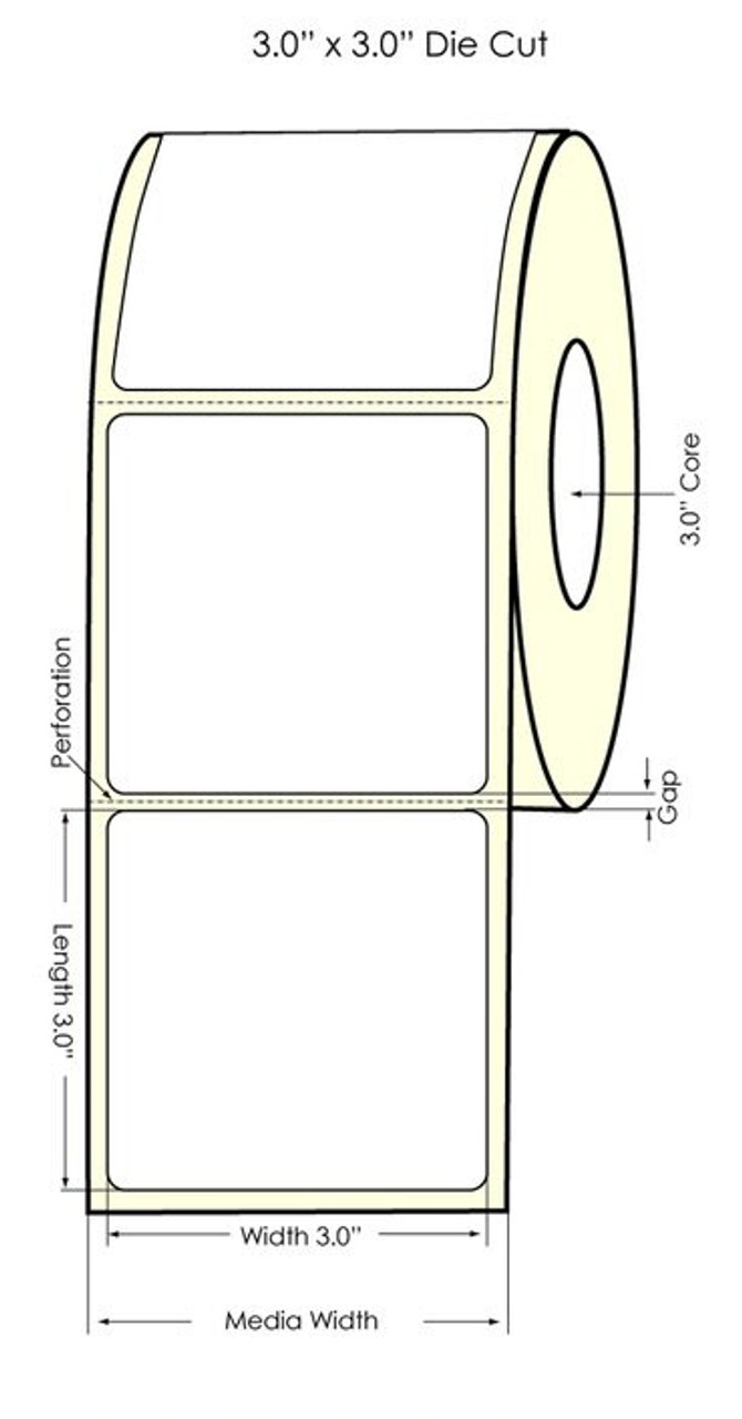 "Primera LX900 3"" x 3"" High Gloss Paper Labels 800/Roll (74889)"