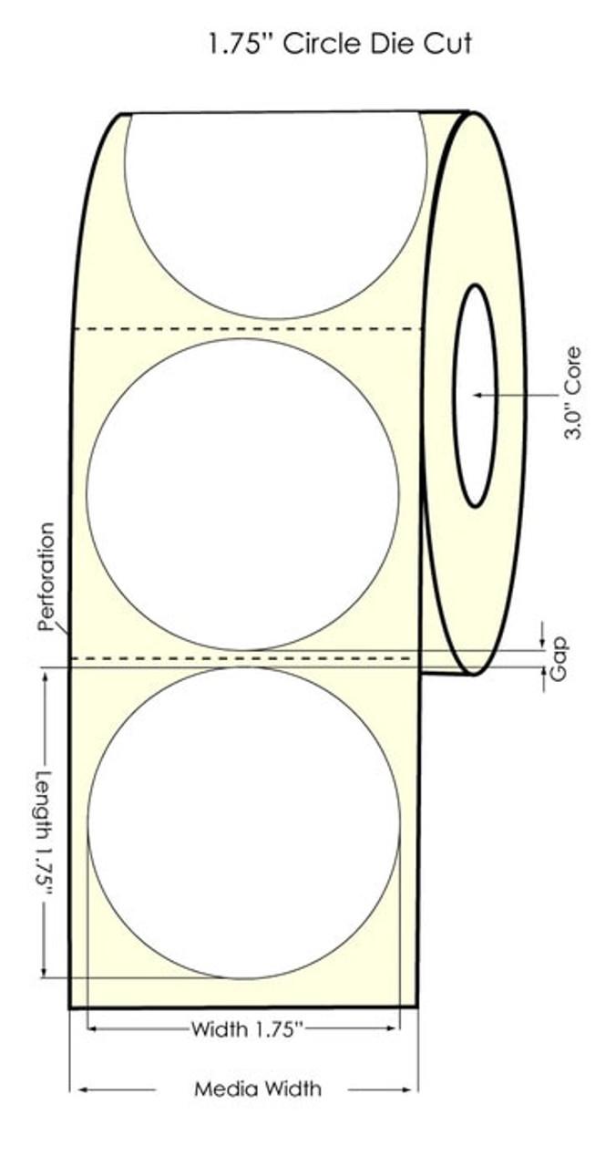 "Primera LX900 1.75"" Circle High Gloss Paper Labels 1300/Roll (74891)"