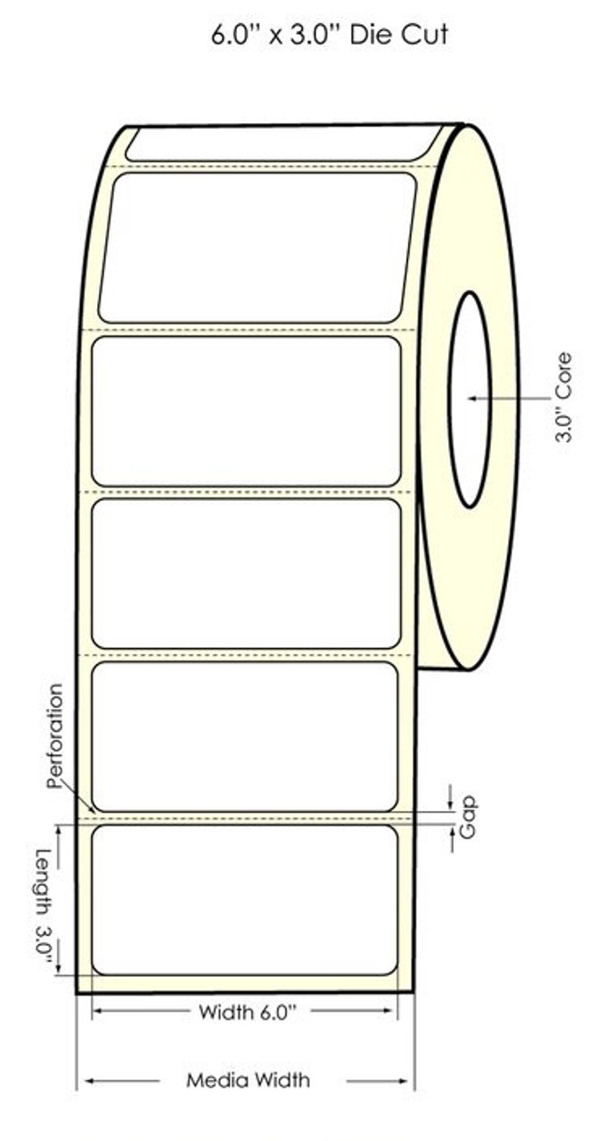 "Primera LX900 6"" x 3"" High Gloss Paper Labels 800/Roll (74895)"