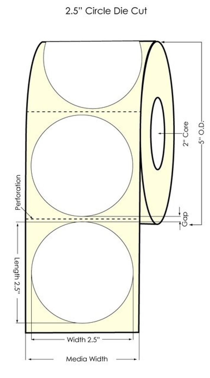 "Primera LX400 2.5"" Circle High Gloss Labels (74707) - 700 labels/roll"