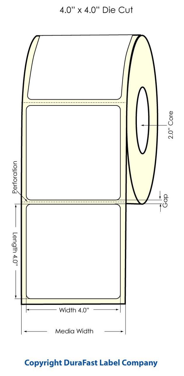 "Primera LX400 4"" x 4"" High Gloss Labels (74723) - 450 labels/roll"