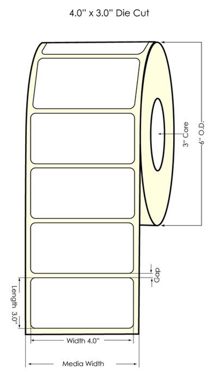 "Primera LX810 4""x3"" NP  High Gloss Polypropylene Labels 934011"