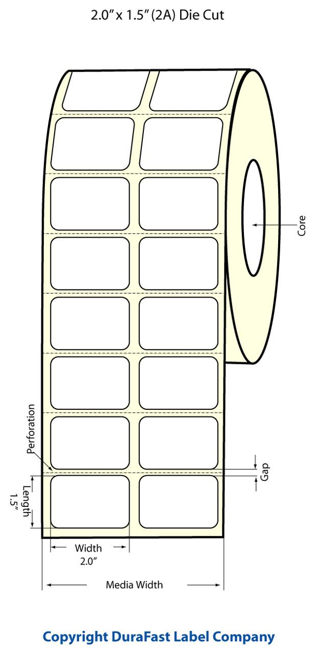 """Epson 2"""" x 1.5"""" High Gloss Label for TM-C3400 & TM-C3500"""
