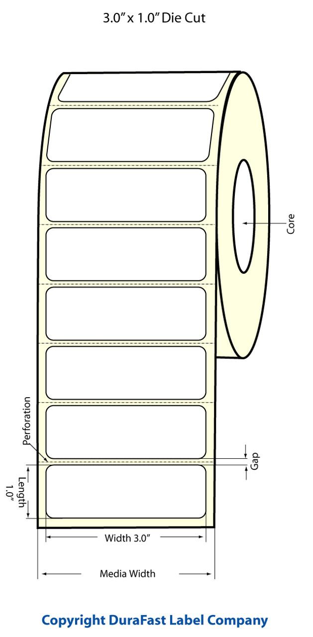 """Epson 3"""" x 1"""" High Gloss Label for TM-C3400 & TM-C3500"""
