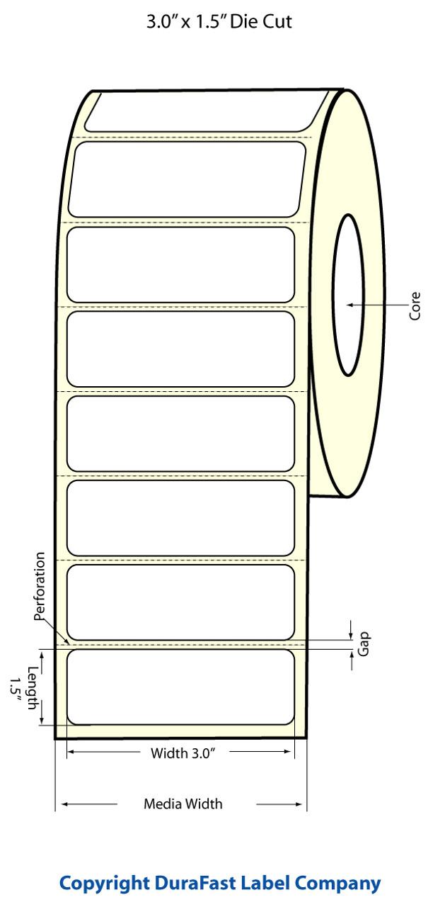 """Epson 3"""" x 1.5"""" High Gloss Label for TM-C3400 & TM-C3500"""