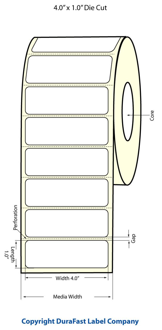 """Epson 4"""" x 1"""" High Gloss Label for TM-C3400 & TM-C3500s"""