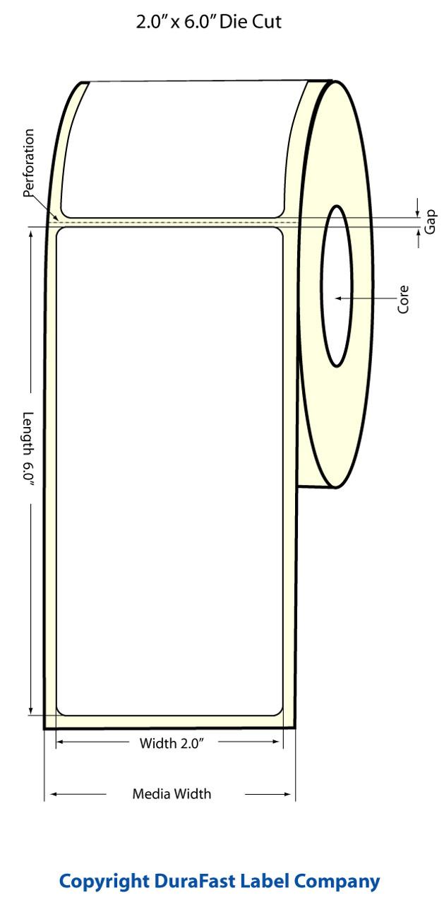 """Epson 2"""" x 6"""" High Gloss Label for TM-C3400 & TM-C3500"""