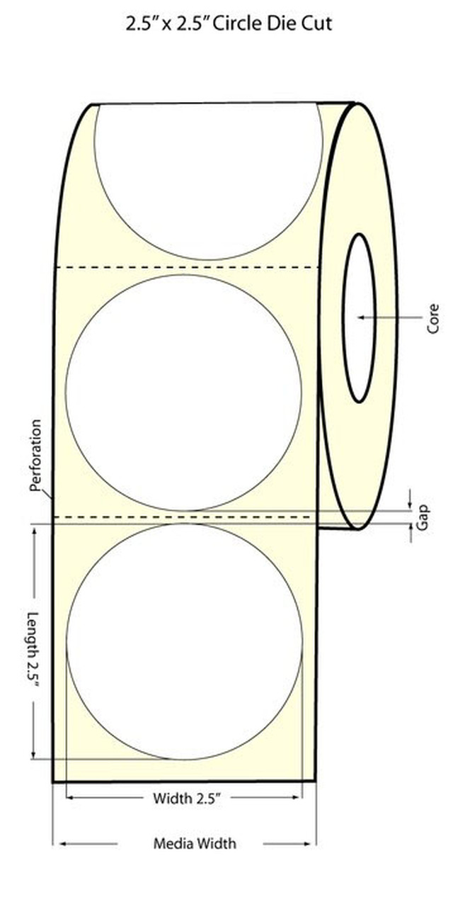 "Epson 2.5"" High Gloss Circle Label for TM-C3400 & TM-C3500"