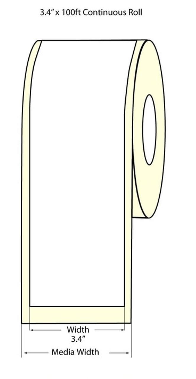 Epson 3.4 x 100 Feet Matte Label Roll for TM-C3400 & TM-C3500