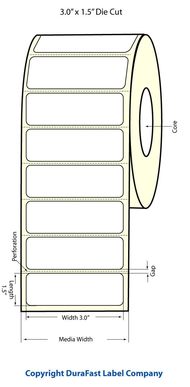 """Epson 3"""" x 1.5"""" Matte Labels for TM-C3400 & TM-C3500"""