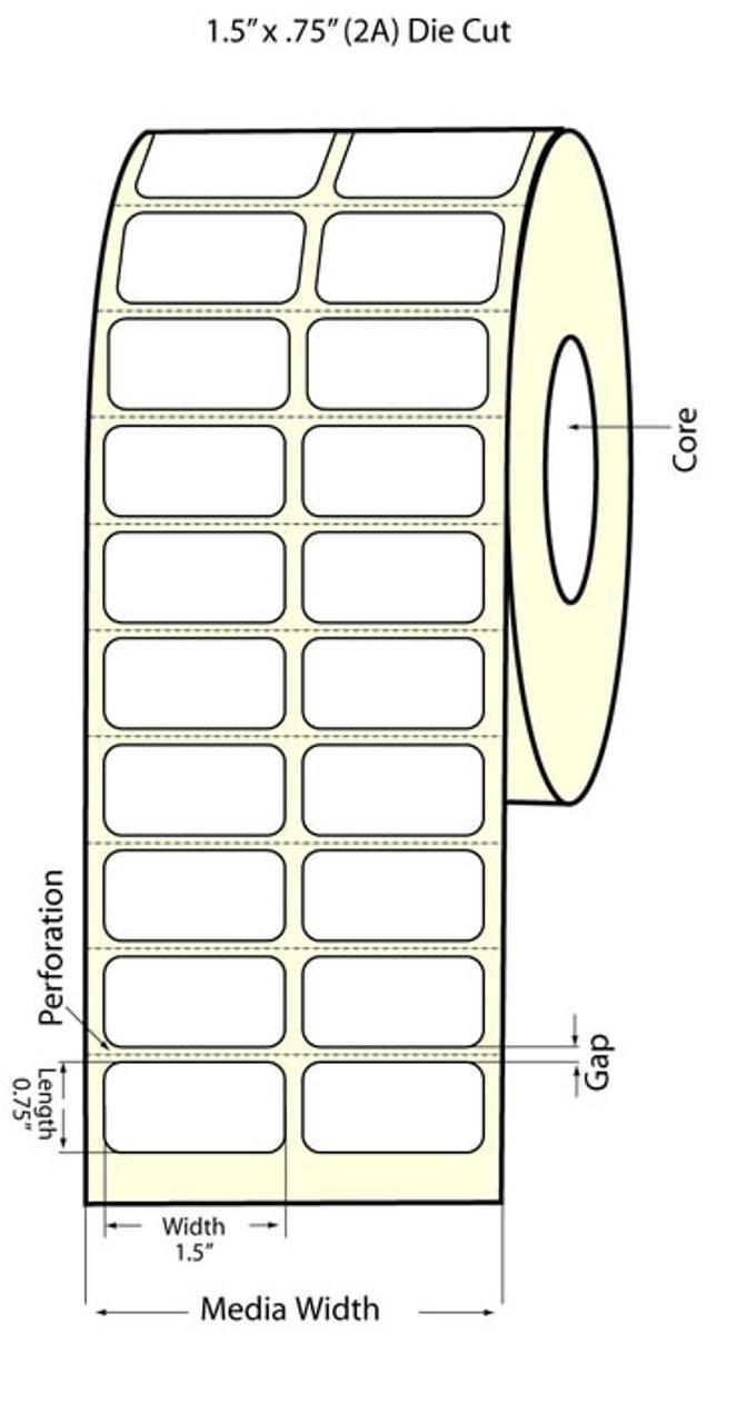 "Epson 1.5"" x 0.75"" Matte Polypropylene Labels for TM-C3400 & TM-C3500"
