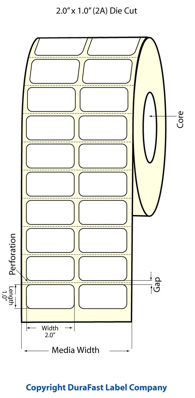 "Epson 2"" x 1"" Matte Polypropylene Labels for TM-C3400 & TM-C3500"
