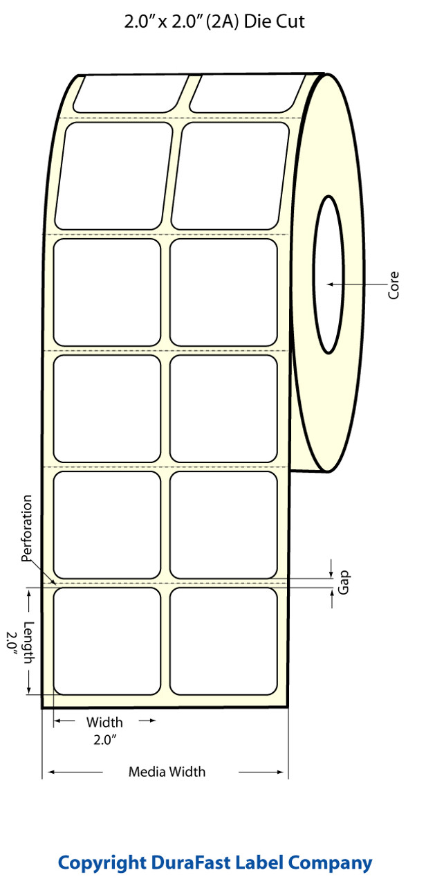 "Epson 2"" x 2"" Matte Polypropylene Labels for TM-C3400 & TM-C3500"