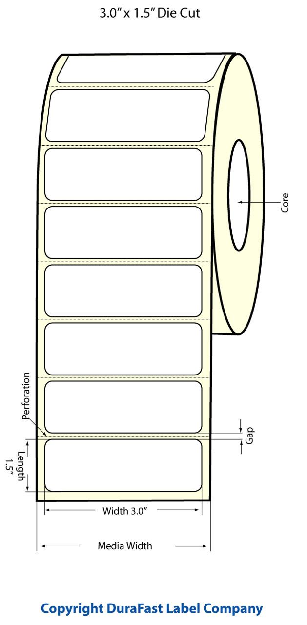 "Epson 3"" x 1.5"" Matte Polypropylene Labels for TM-C3400 & TM-C3500"
