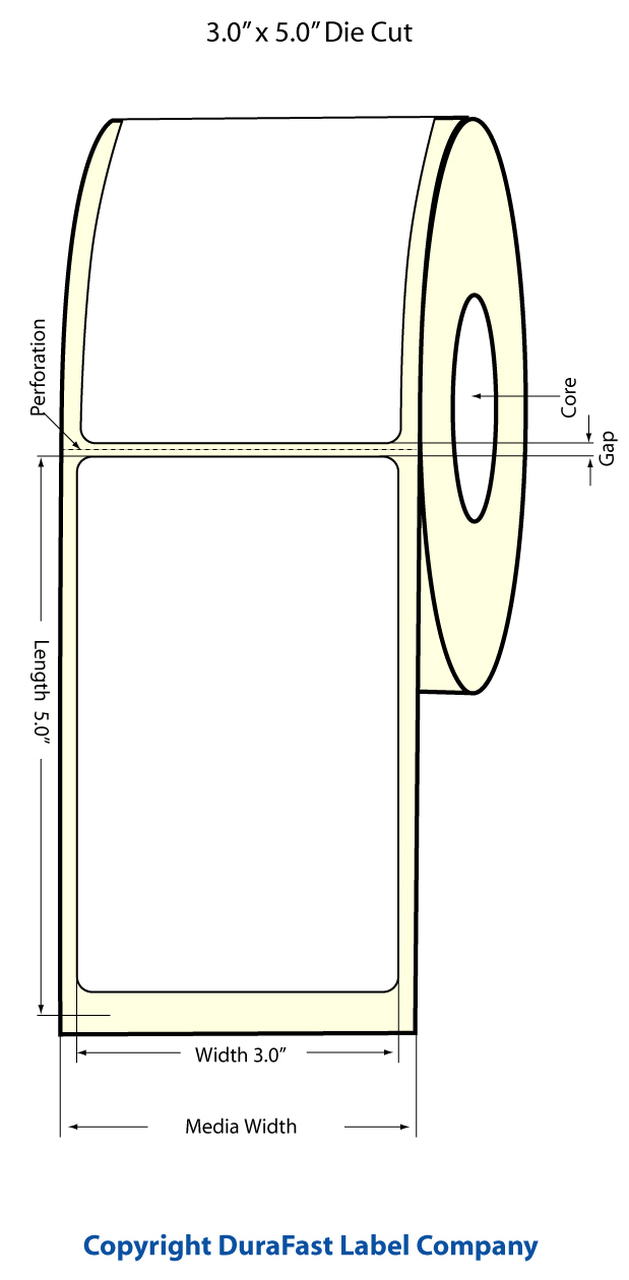 "Epson 3"" x 5"" Matte Polypropylene Labels for TM-C3400 & TM-C3500"