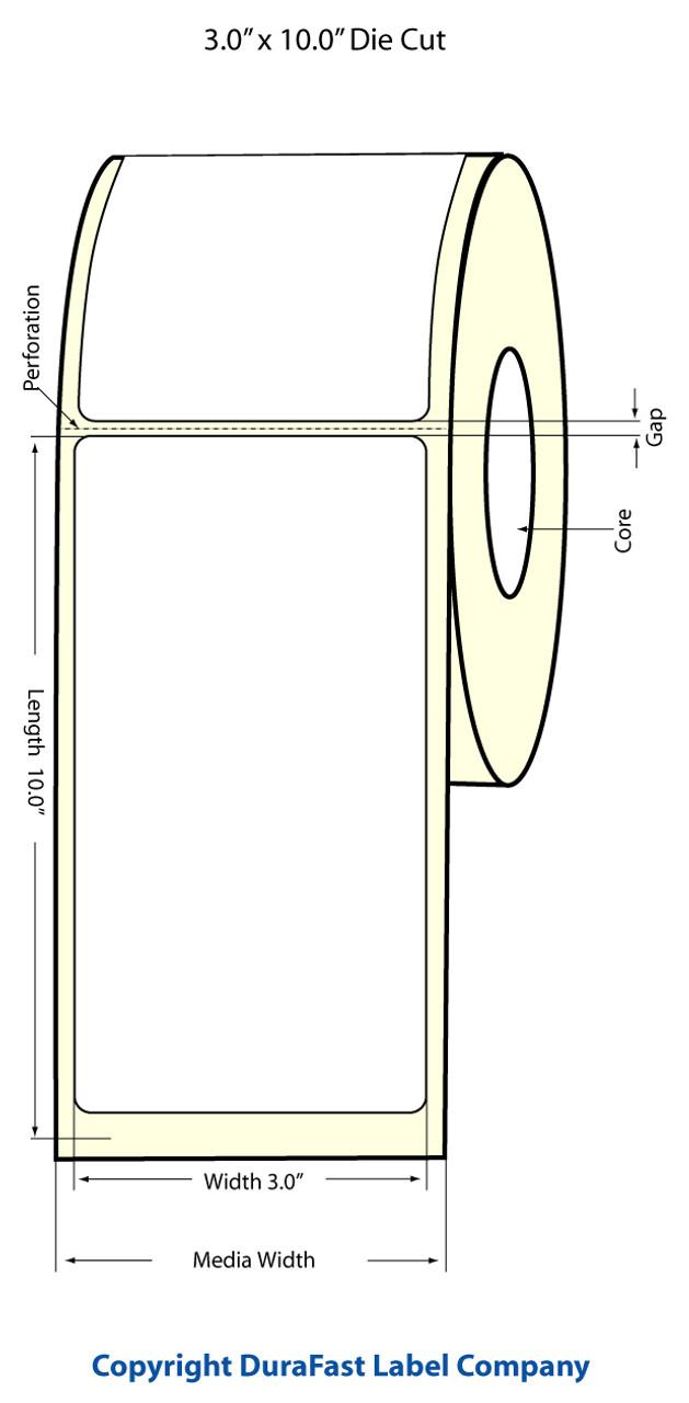"""Epson 3"""" x 10"""" High Gloss Label for TM-C3400 & TM-C3500"""