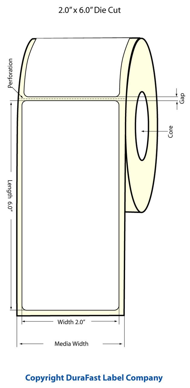 "Epson 2"" x 6"" Matte Polypropylene Labels for TM-C3400 & TM-C3500"