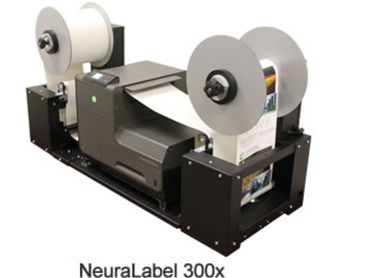 300x shown with the NeuraLog NeuraLabel 300x Rewinder/Unwinder System