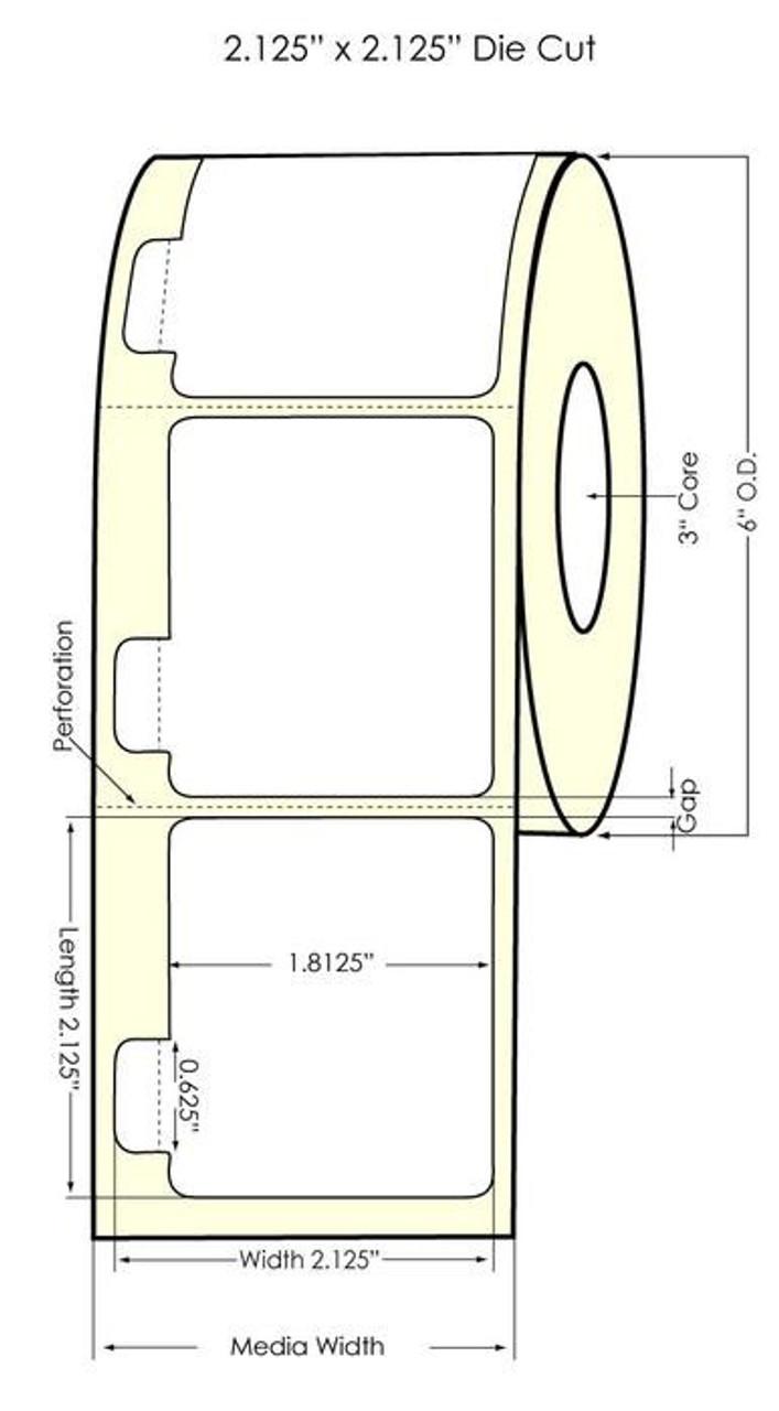 DuraFast 2.125x2.125 (0.219 gap) Glossy BOPP 1100 labels/roll