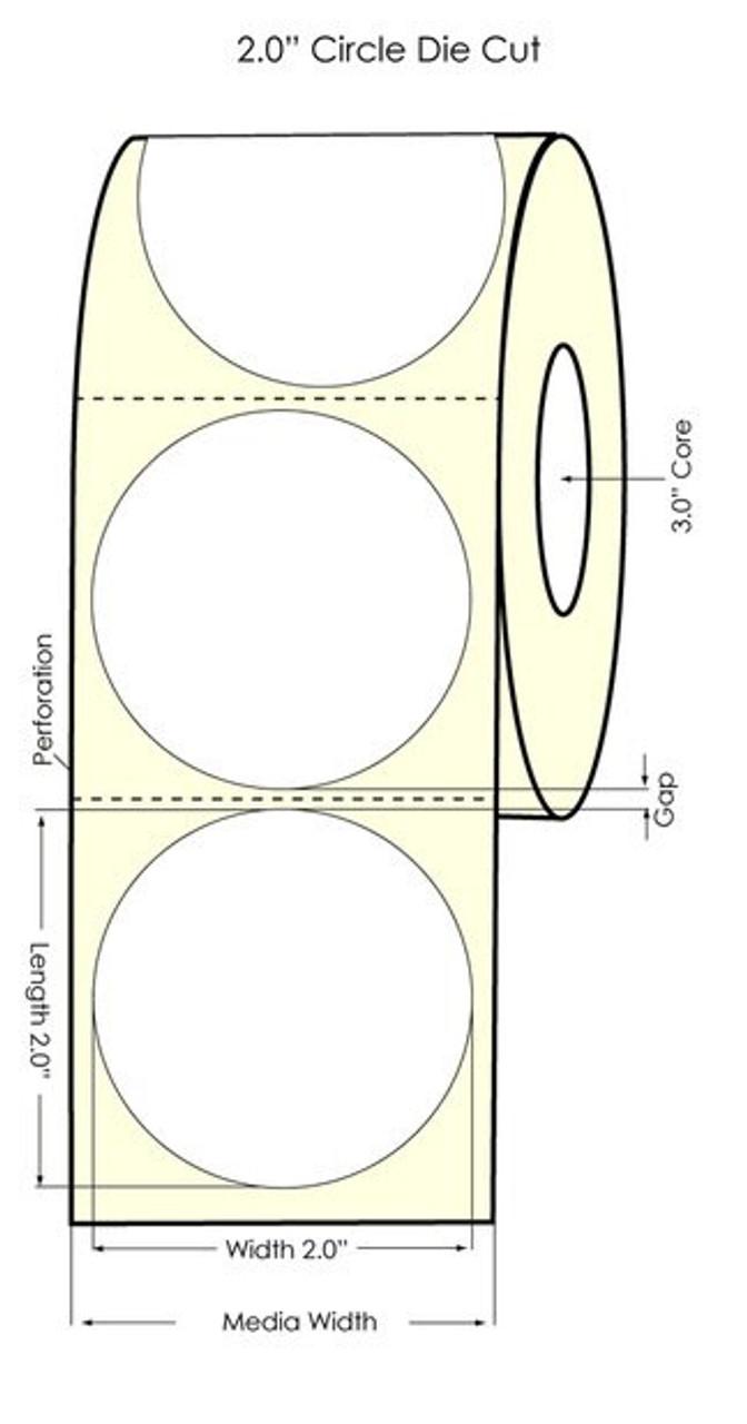 "Inkjet 2"" Circle High Gloss Paper Label 960/Roll (551028)"