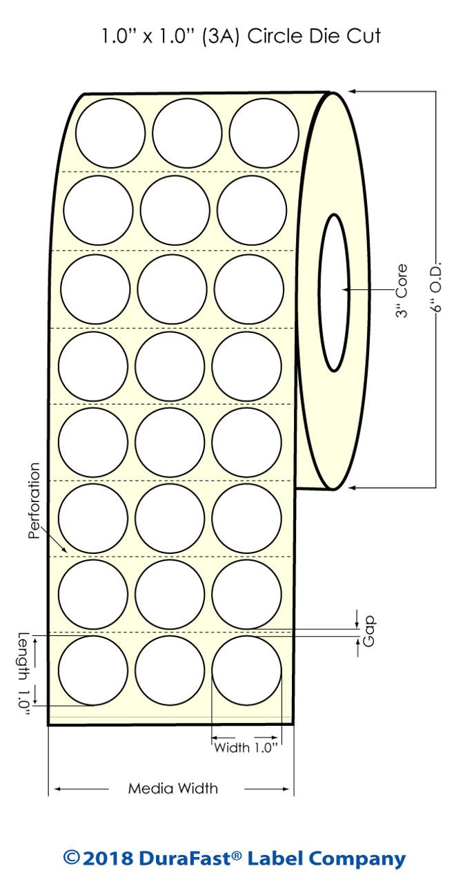 """Inkjet 1"""" Circle (3A) Matrix ON High Gloss Label 5760/Roll (551029)"""