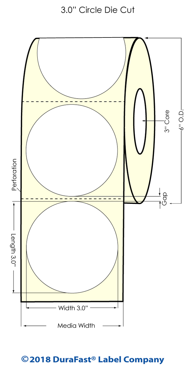 "Inkjet 3"" Circle Matrix ON High Gloss Label 800/Roll (551030)"