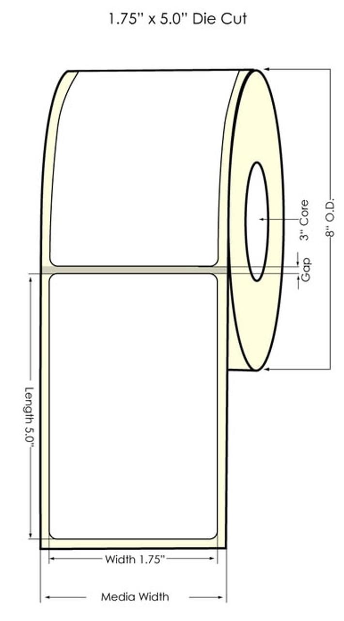 "Inkjet 1.75"" x 5"" NP High Gloss Paper Label 1100/Roll (551037)"