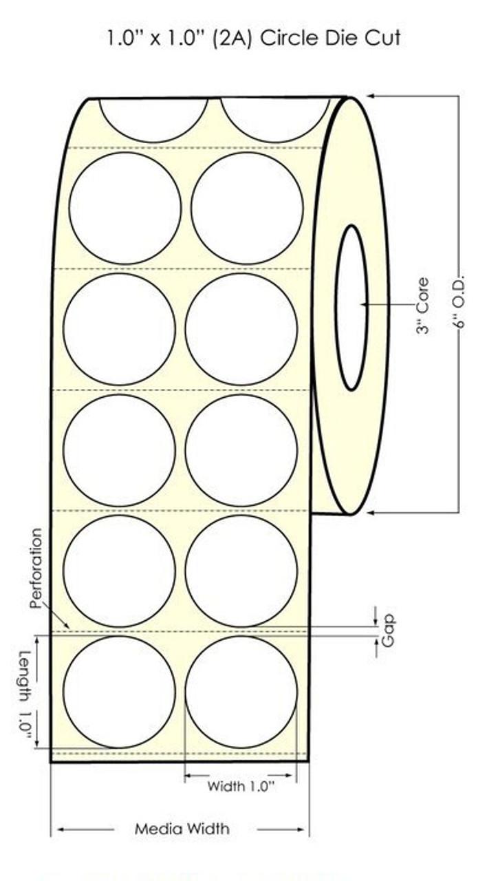 "Inkjet 1"" Circle [2A] Matte Paper Labels 4000/Roll Matrix ON (552002)"