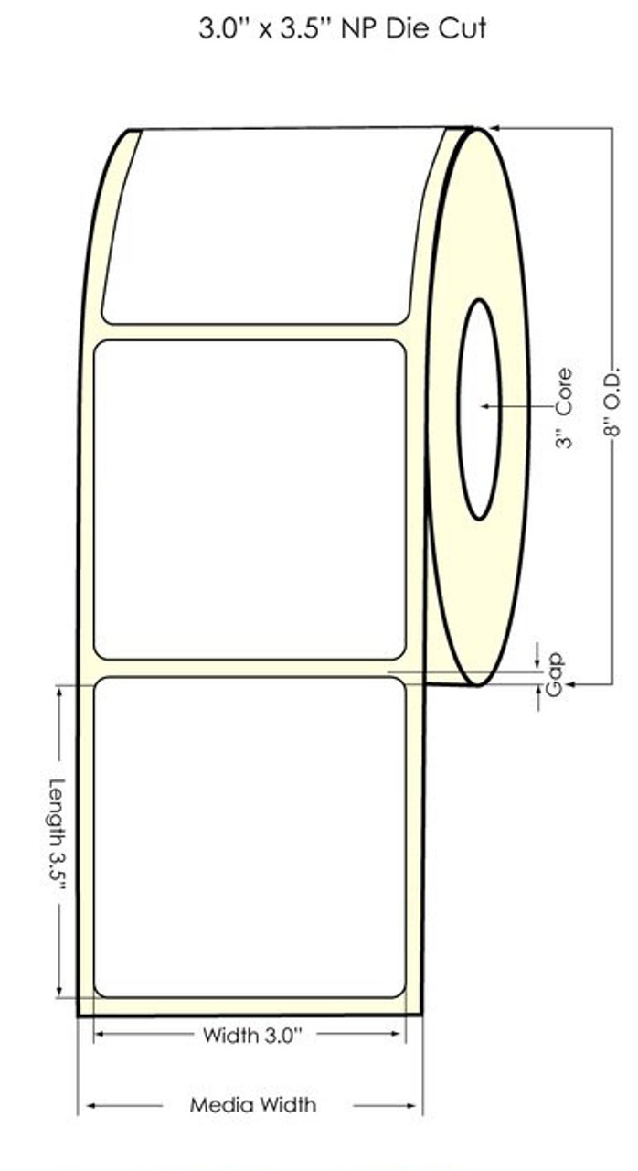 """Inkjet 3"""" x 3.5"""" NP Matte BOPP Label 1400/Roll (553029)"""