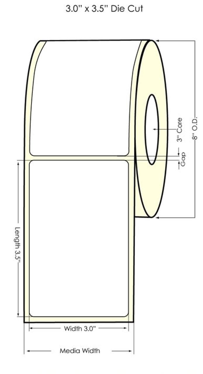 """Inkjet 3"""" x 3.5"""" (NP) Matte BOPP Labels 1400/Roll (553031)"""