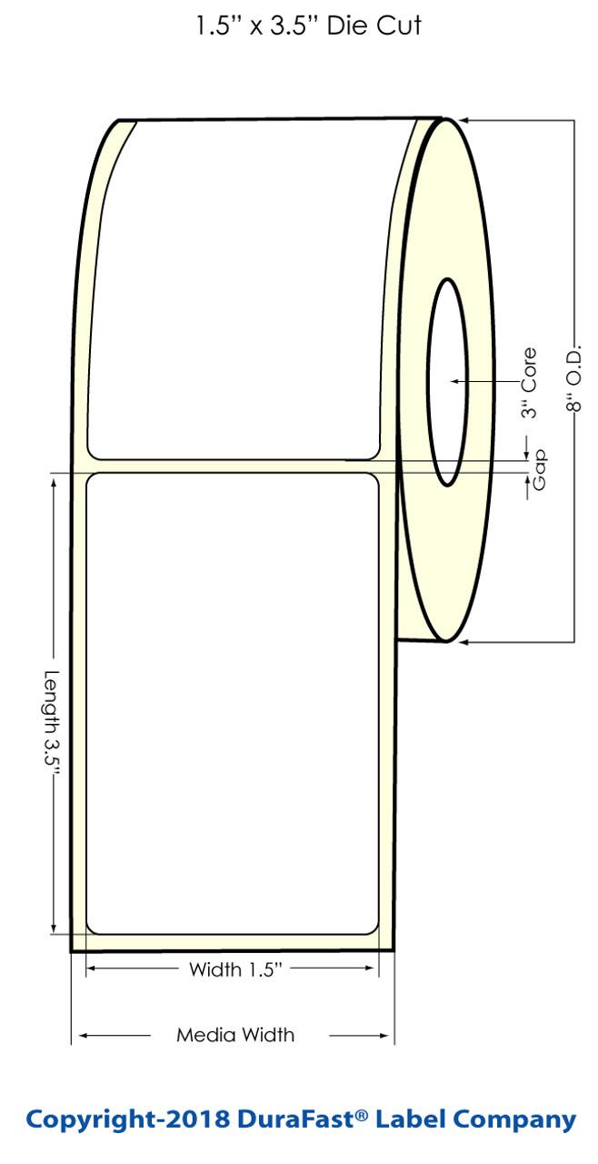 """Inkjet 1.5"""" x 3.5"""" (NP) Matte BOPP Labels 1400/Roll (553032)"""