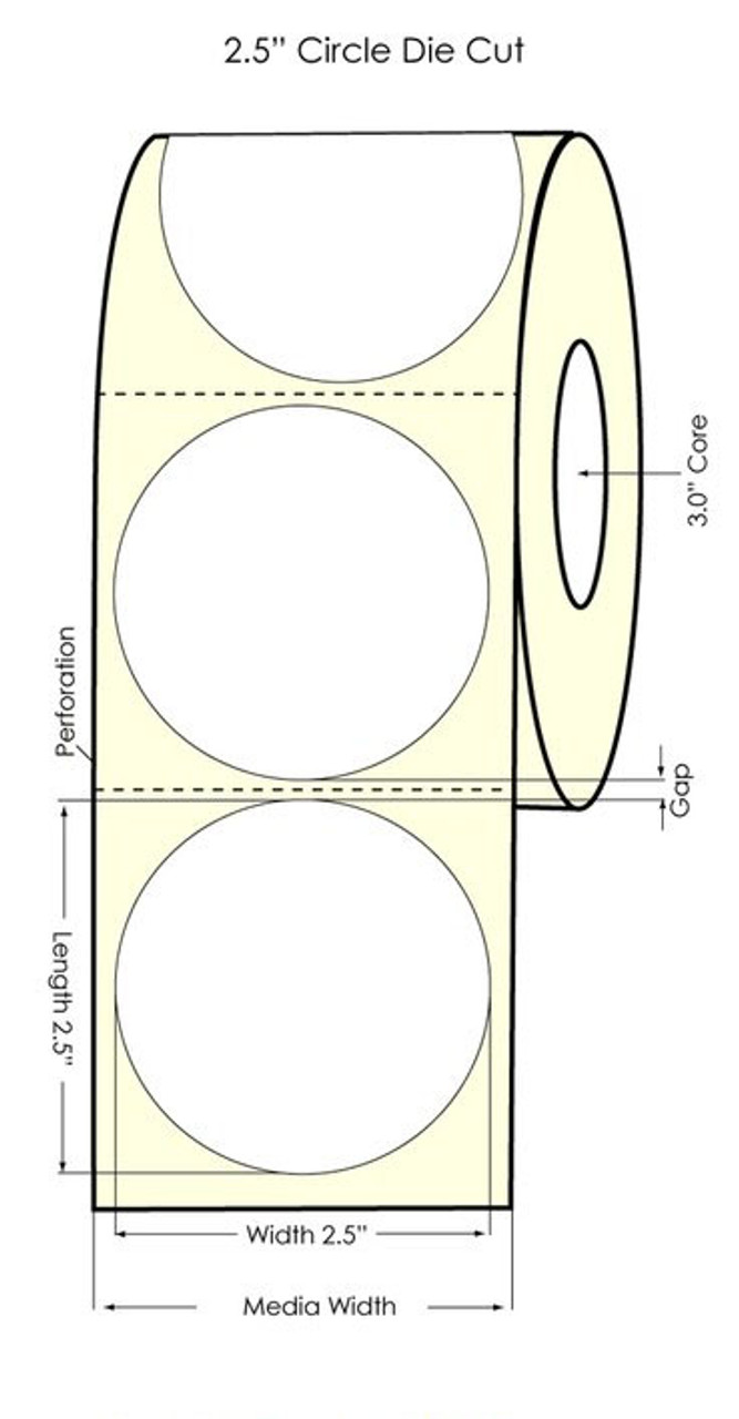 "Inkjet 2.5"" Circle Glossy BOPP Label 880/Roll (554028)"