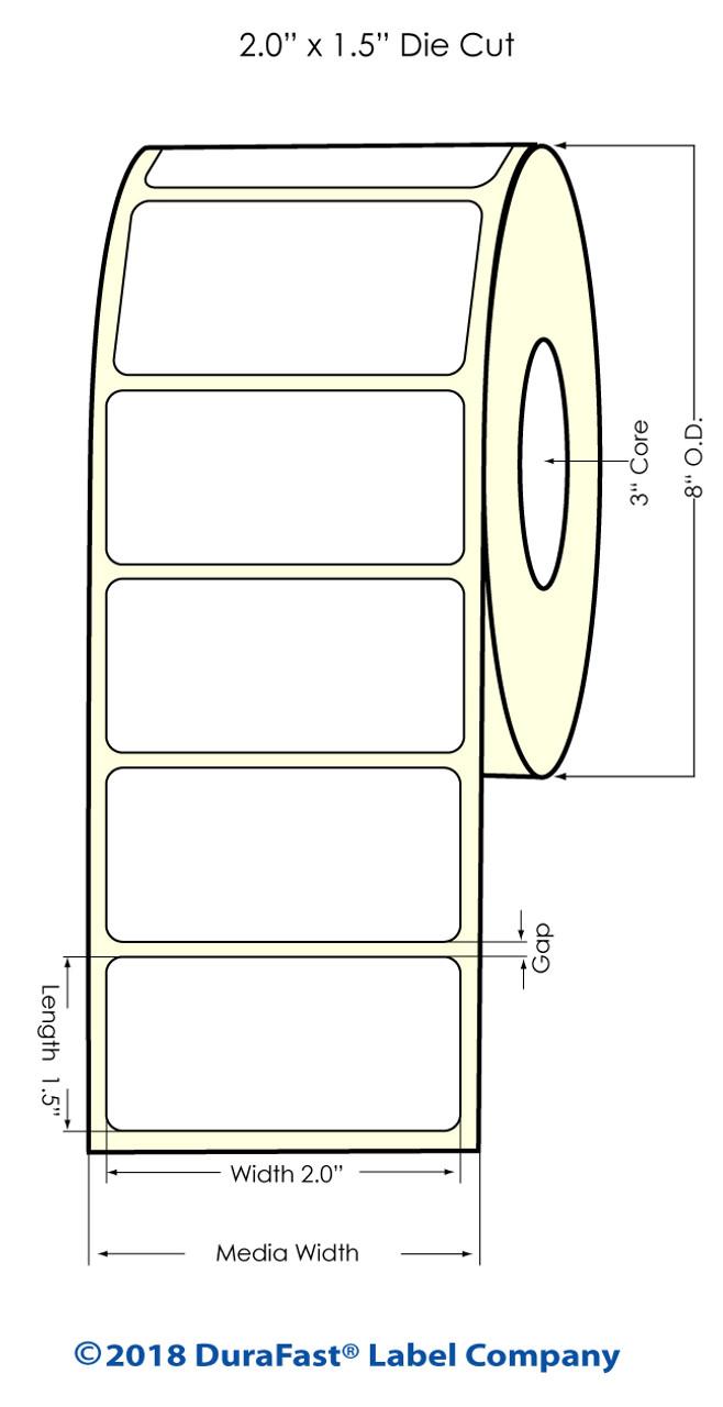 "Inkjet 2"" x 1.5"" NP Glossy BOPP Labels 3500/Roll 8"" OD (554032)"