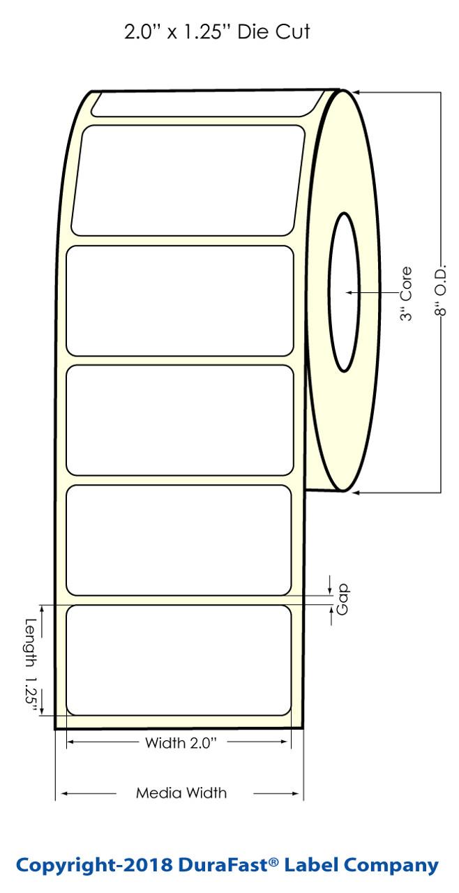 "Inkjet 2"" x 1.5"" NP Glossy BOPP Label 3200/Roll (554035)"