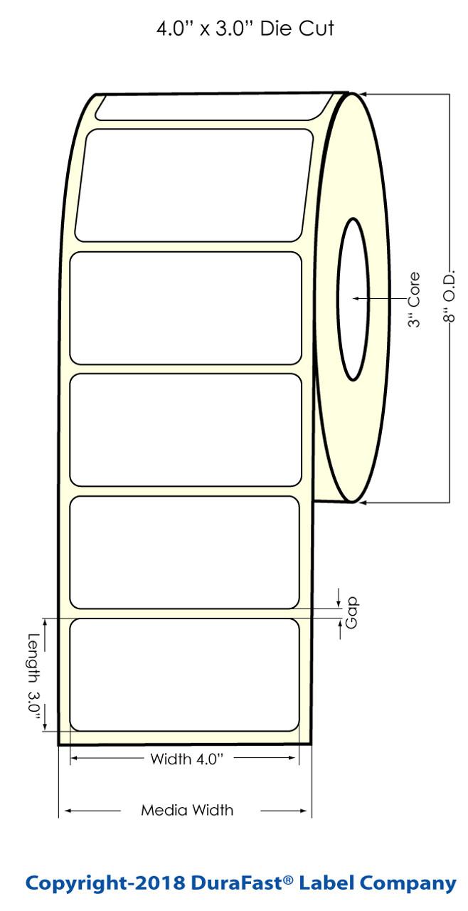 "Inkjet 4"" x 3"" (8"" OD) Chemical Label 1500/Roll (556045)"