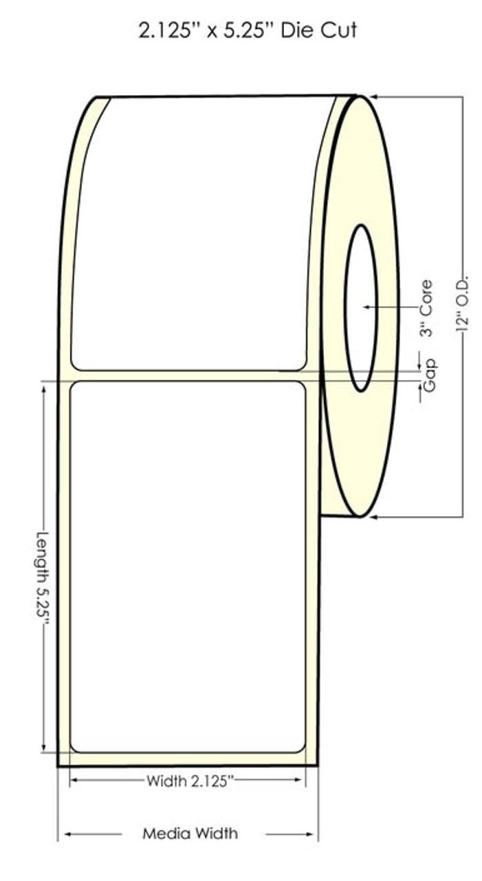 "- Inkjet 2.125"" x 5.25"" (11"" OD) Chemical Label 2000/Roll (556052)"
