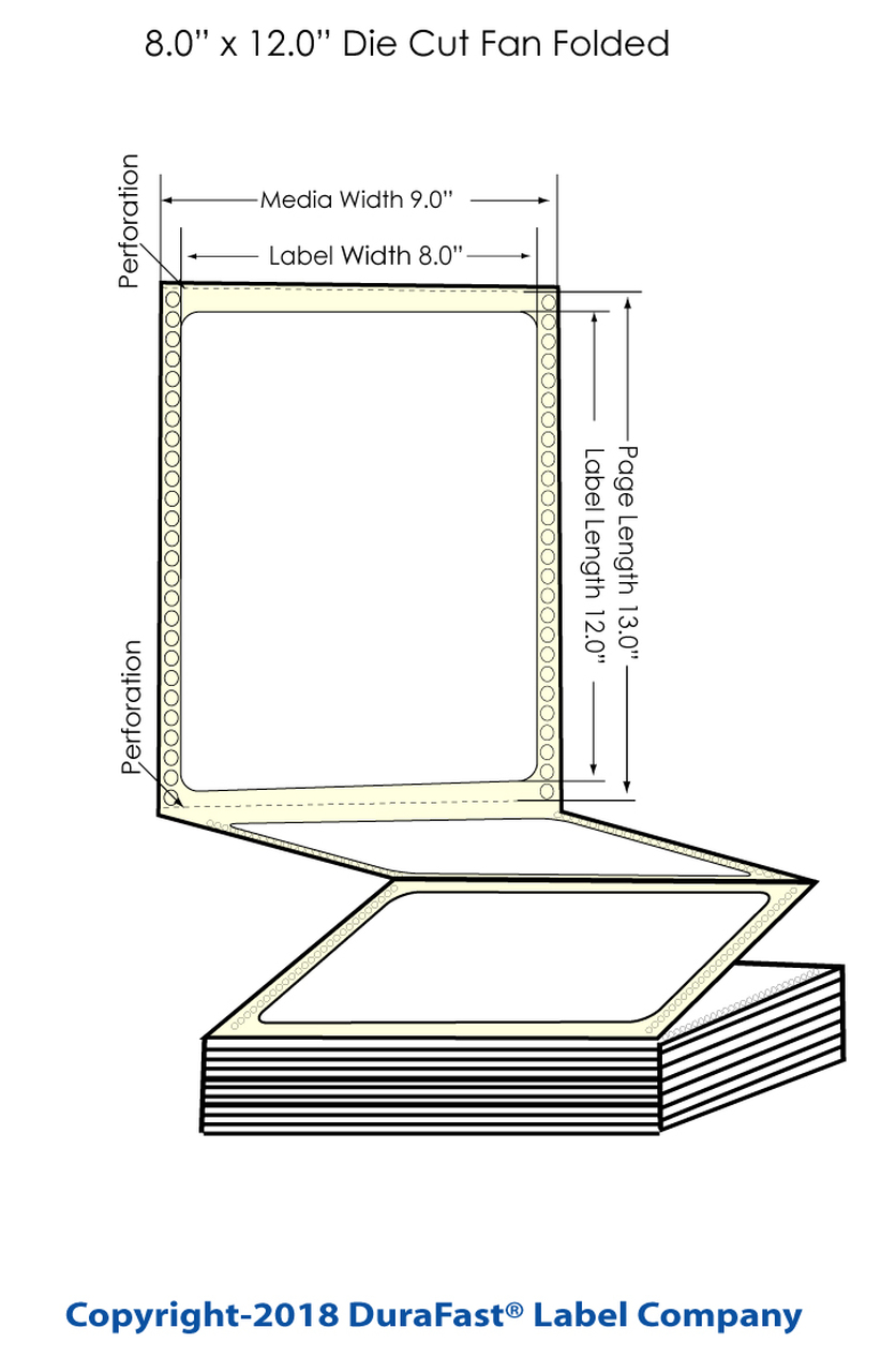 """Inkjet 8"""" x 12"""" Chemical Label 600/Carton (564002)"""