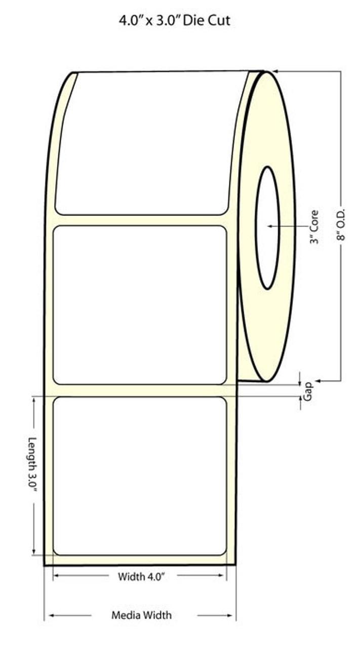 "Inkjet 4"" x 3"" NP (8""OD) High Gloss Paper Label 1500/Roll"