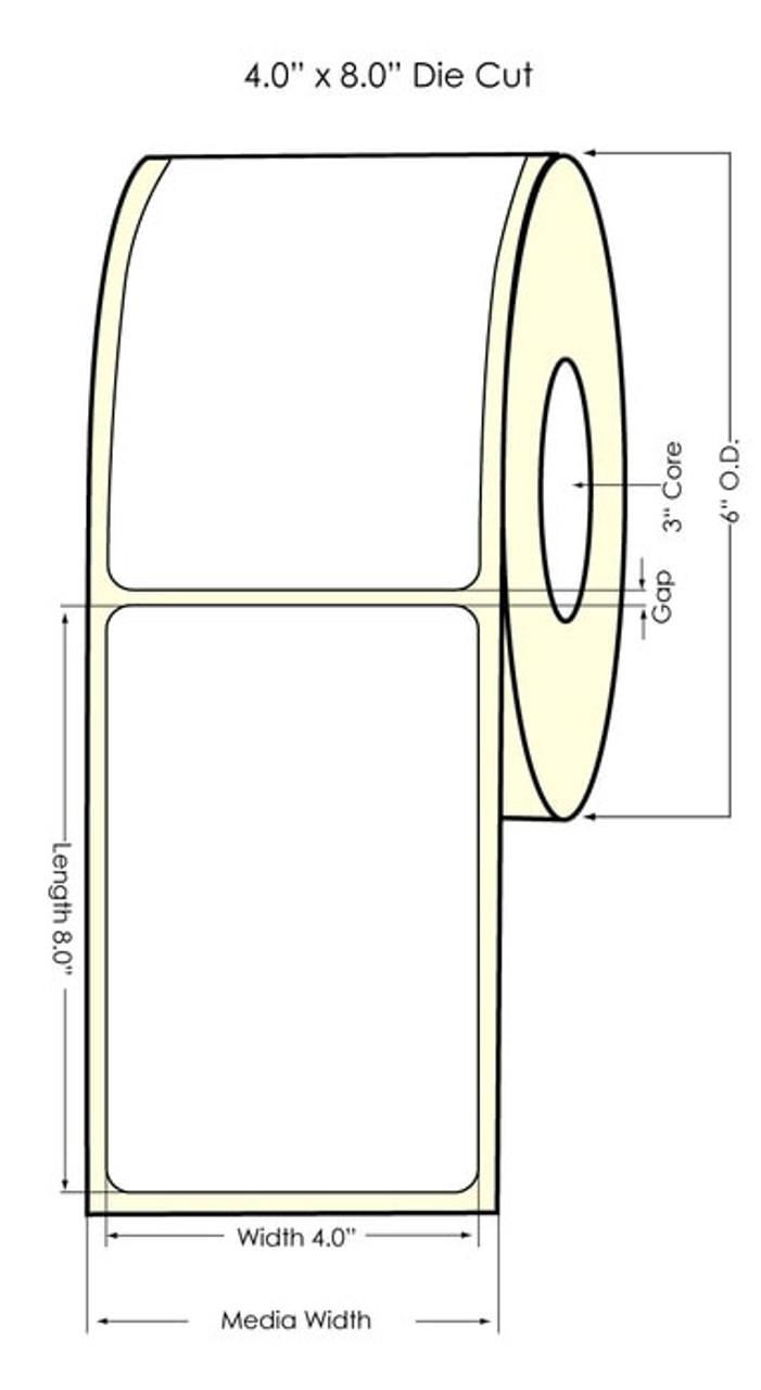 "Inkjet 4"" x 8"" NP High Gloss Paper Label 325/Roll (641013)"