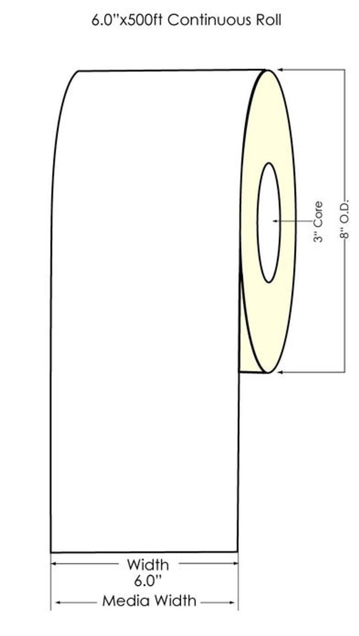 """Inkjet 6"""" x 500ft High Gloss Paper Label Roll (641051"""