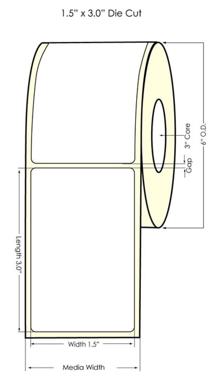 "Inkjet 1.5"" x 3"" NP High Gloss Paper Label 1600/Roll (641054)"